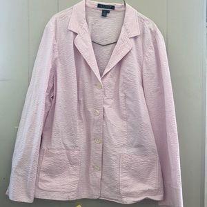 Ralph Lauren Pink and white striped blazer size 1x